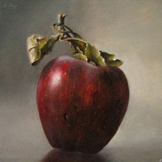 amazingly realistic delicious apple oil painting 5x5 The Fateful Temptation, painting by artist JEANNE ILLENYE