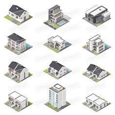 Different houses isometric icon set. Graphic Design Infographics. $10.00