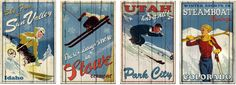 Vintage ski posters on wood boards. Winter Wonder, Winter Fun, Winter Sports, Poster On, Poster Prints, Vintage Ski Posters, Ski Decor, Pyrography, Travel Posters