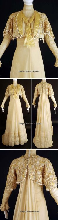 Afternoon gown, ca. 1910, of gauzy ivory silk. Source