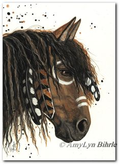 Majestic Horses 47 - Friesian Paint Native Feathers - ArT Prints or ACEO by Bihrle