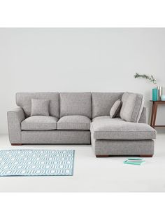 Rio Fabric Right Hand Corner Chaise Sofa In Grey Or Oatmeal87 X 244 X 211