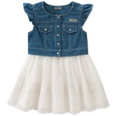 Add an adorable summertime outfit to your little one's wardrobe with the Denim Dress with White Lace Skirt from Calvin Klein. The top half features a button-down denim vest with ruffle sleeves, and the bottom half is an attached lace skirt. Denim And Lace, White Denim, White White, White Lace Skirt, Lace Dress, White Dress, Vestido Calvin Klein, Summertime Outfits, Casual Day Dresses