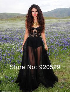 2013 selena gomez sweetheart robe sexy voir à travers un- ligne longueur au sol noir robes de célébrités en mousseline de soie pour la célébrité nouveau design