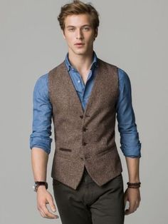 Details about Men's Brown Vest Tweed Vest Formal Business Vest Casual Waistcoat, , Mens Fashion Style, Trajes Business Casual, Summer Business Casual Outfits, Stylish Mens Outfits, Casual Summer, Business Outfits, Classy Outfits, Chic Outfits, Summer Outfits, Chaleco Casual