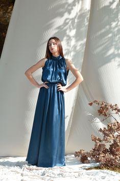 Blue-Petrol silk dress, Long maxi dress, Silk maxi dresses, Plus size dress Party dress Bridesmaid dress