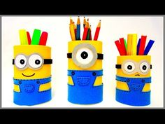 DIY crafts: MINIONS BOX from cardboard tube - Innova Crafts - YouTube