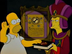 """""""Homer the Great"""" is the twelfth episode of Season Homer joins the secret society of the Stonecutters and inadvertently becomes their leader. The Simpsons Show, Simpsons Cartoon, Goat Cartoon, Cartoon Gifs, Homer The Great, Simpsons Episodes, Very Funny Gif, Cartoon Background, Freemasonry"""