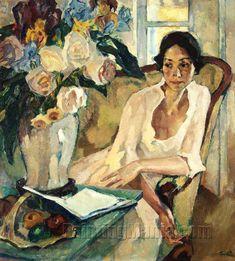 "Leo Putz (German, - ""Damenbildnis"" (Portrait of a Lady), 1922 - Oil on canvas Mehr Figure Painting, Painting & Drawing, People Reading, L'art Du Portrait, Beautiful Paintings, Figurative Art, Love Art, Painting Inspiration, Female Art"