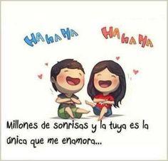 Millones de sonrisas y la tuya es la única que me enamora  - http://imagenesconfrasesdeluxe.com/millones-de-sonrisas-y-la-tuya-es-la-unica-que-me-enamora/