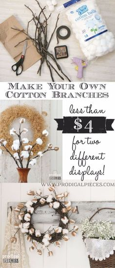Best Country Decor Ideas - DIY Cotton Branches - Rustic Farmhouse Decor Tutorials and Easy Vintage Shabby Chic Home Decor for Kitchen, Living Room and Bathroom - Creative Country Crafts, Rustic Wall Art and Accessories to Make and Sell http://diyjoy.com/country-decor-ideas #shabbychicaccessories #shabbychickitchencountry #homedecor #vintagebathrooms #homedecoraccessories