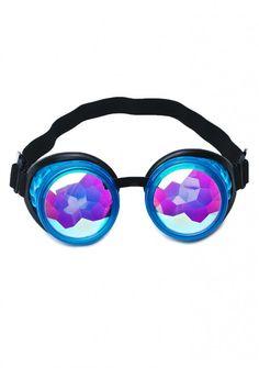75346319134 GloFx Glow Blue Kaleidoscope Goggles Rave Festival