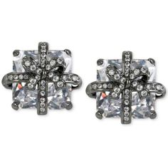 Betsey Johnson Hematite-Tone Square Crystal Pave Bow Earrings ($35) ❤ liked on Polyvore featuring jewelry, earrings, hematite, bow jewelry, betsey johnson earrings, crystal earrings, hematite jewelry and wrap earrings