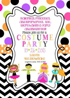 Kids costume party birthday invitation blue or orange chevron 12 costume birthday party invitations with envelopes fall halloween by noteablechic on etsy filmwisefo