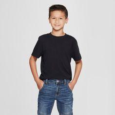 oversizeBoys' Short Sleeve T-Shirt - Cat and Jack Black L Husky, Boy's, Size: Large Husky Gender: male. Young Boys Fashion, Cute Kids Fashion, Uniform Shirts, Basic Tees, Jack Black, Red Shirt, Boy Shorts, Cool Shirts, Fitness Fashion