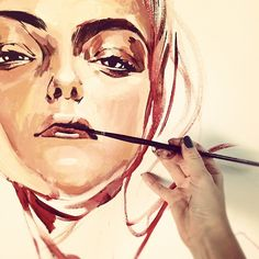 Work in progress! Beginning...  Portrait from EMOTIONS serie... Yellow///Giallo... Detail. Irina Sokolova Guida ©2012  80x80cm, canvas, acrilycs
