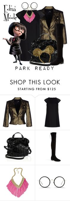 """Edna Mode: Park Ready"" by laniocracy ❤ liked on Polyvore featuring Just Cavalli, Messagerie, Bao Bao by Issey Miyake, Stuart Weitzman, ABS by Allen Schwartz, Linda Farrow, Disney and disneyland"