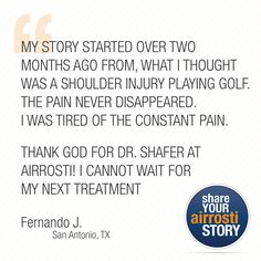 TESTIMONIAL TUESDAY! Fernando was our Airrosti Testimonial Contest winner. Check out his story!