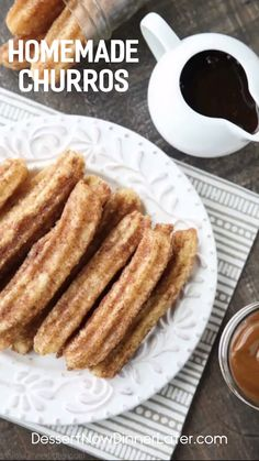 This churros recipe is super easy to make with a simple churro dough that is piped into oil and fried, then coated in cinnamon-sugar. You can enjoy these crisp, yet soft homemade churros anytime! Homemade Churros Recipe, Easy Churros Recipe Baked, Cinnamon Churros Recipe, Homemade Food, Donut Recipes, Baking Recipes, Soft Food Recipes, Bread Recipes, Gastronomia