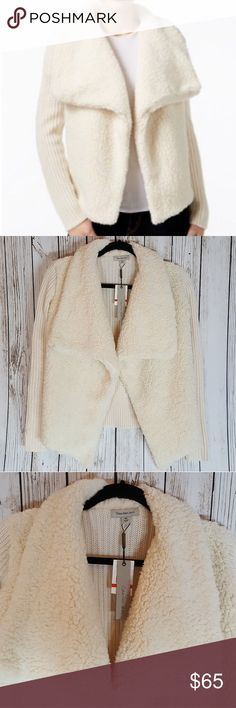 Calvin Klein Jeans Mixed-media Sweater Jacket Calvin Klein Jeans Mixed-media Sweater Jacket Cream Egret Ivory  New with tags very cute Calvin Klein Jackets & Coats Vests