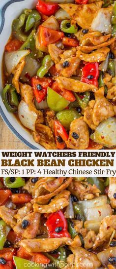 Chinese Black Bean Chicken is a lightened version of the classic Cantonese recipe made with easy stir fry ingredients in less than 30 minutes for just 2 Smart Points per. Plats Weight Watchers, Weight Watchers Chicken, Weight Watchers Meals, Ww Recipes, Chicken Recipes, Dinner Recipes, Cooking Recipes, Healthy Recipes, Chicken Bean Recipe