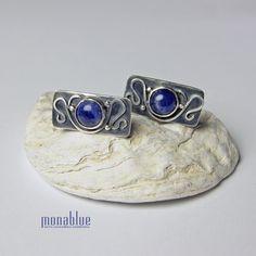 Risco - srebrne spinki do mankietów z sodalitem / monablue / Biżuteria / Dla mężczyzn