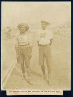 1904 Olympic Marathon participants, Len Tau (left) and Jan Mashiani of the Tswana tribe of South Africa.