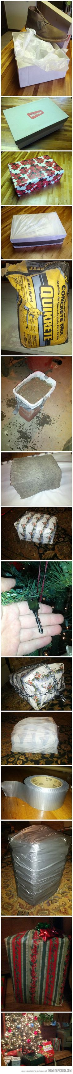How to Properly Wrap a Present…@Aliyah Kimmey you dad needs to use this method with you around the house!!! lol