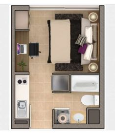 My Absolute Favourite. Small Apartment Layout, Studio Apartment Layout, Apartment Design, Small Apartment Plans, Studio Apartment Floor Plans, Studio Floor Plans, House Floor Plans, Hotel Room Design, Tiny Apartments