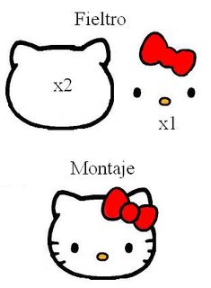 Hoy queremos compartirles este molde de Hello Kitty en fieltro para que puedas usarlo en la creación de broches para la ropa o manualidades infantiles.
