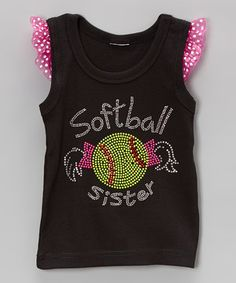 Look at this #zulilyfind! Black 'Softball' Angel-Sleeve Tank - Infant, Toddler & Girls by Ready Set Sparkle Couture #zulilyfinds