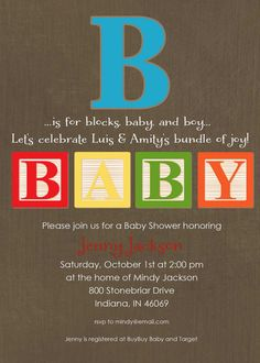 339 best abc blocks images on pinterest in 2018 baby playroom baby blocks couples shower invitation gender reveal neutral twins boy coed sprinkle sip see diaper wipes brunch rustic 1253 katiedid cards filmwisefo