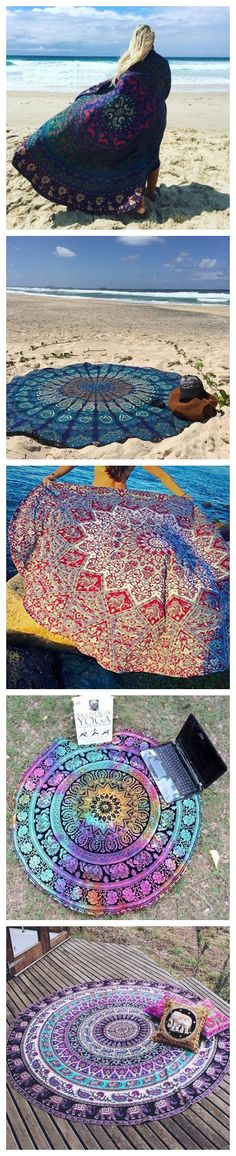 Bohemian Style Thin Chiffon Beach Yoga Towel Mandala Round Bed Sheet Tapestry Tablecloth - Are You A Boho-Chic? Check out our groovy Bohemian Fashion collection! Bohemian Gypsy, Hippie Chic, Bohemian Style, Boho Chic, Bohemian Tapestry, Shabby Chic, Estilo India, Fitness Queen, Beach Yoga