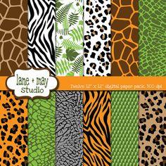 digital scrapbook papers - safari jungle animal print patterns - INSTANT DOWNLOAD