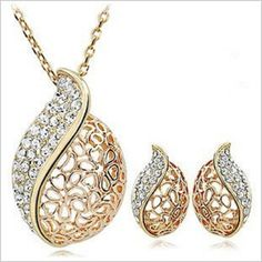 Wholesale lot gift accessories love crystal necklace jewelry set B0001 B1181