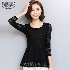 2017 Sexy hollowed out Women blouse Plus size New spring women's bluses lace tops female long sleeved lace shirt  851i  30 #Affiliate