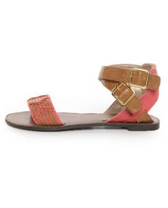 Athena 514A Tan & Coral Patterned Flat Sandals | Qupid