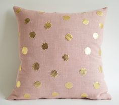 Sukan / Pink Linen Pillow Cover - sukan pillow - polka dot pillow - cushion cover - designer pillow - 16x16 cushion. $65,00, via Etsy.