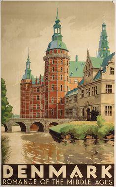 Vintage plakat. Danmarksplakater af Hakon Spliid. Frederiksborg slot, Hillerød.