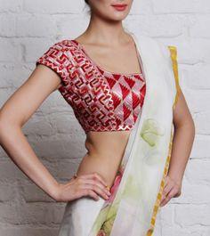 Red & Pink Phulkari Cotton Blouse