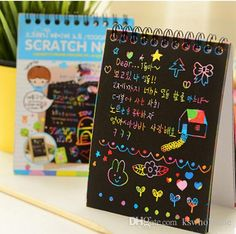 Rainbow scratch paper notebook with wooden pencil  2 pack