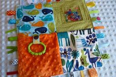 Sensory Blanket - large squares of differing textures to make patchwork blanket. Add rice/beans before sewing individual squares shut to make weighted blanket.