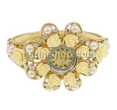 Zinklegierung Armbanduhr, mit Glas & Harz, Blume, goldfarben plattiert, mit Strass, frei von Nickel, Blei & Kadmium
