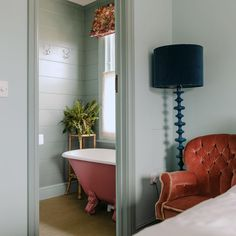 """The Rose Deal on Instagram: """"Softly does it our twin Room Eight; all delicate hues, punchy floral fabrics and a tub so ridiculously cute we challenge anyone not to say…"""" Paint Color Combos, Paint Colors, Twin Room, Clawfoot Bathtub, Floral Fabric, New Homes, Fabrics, Delicate, Rose"""