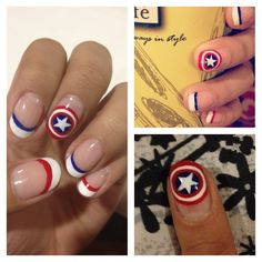 The First Avenger Captain America Shield White French Tip Red