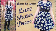 DIY Lace Skater Dress with Sleeves + Lining - How to Sew Stretch Fabric