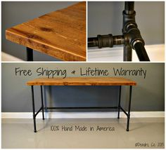 Industrial Urban Reclaimed Wood Desk With Raw Charcoal Pipe Legs