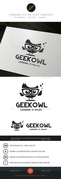 This logo design for all creative business. Consulting, Excellent logo,simple and unique concept. Logo Template Features AI and EPS (Illustrator 10 EPS) PSD (Photoshop File) CMYK Scalable Vector Files Easy to edit color / text Ready to print Logo Design Template, Logo Templates, Library Logo, Owl Logo, Owl Pet, Cartoon Logo, Portfolio Logo, Bird Logos, Logo Creation