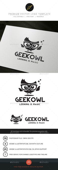 Geek Owl Logo Template PSD, Vector EPS, AI Illustrator. Download here: https://graphicriver.net/item/geek-owl/9602618?ref=ksioks