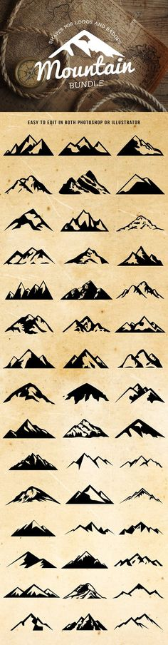 Mountain Shapes For Logos Bundle - Shapes